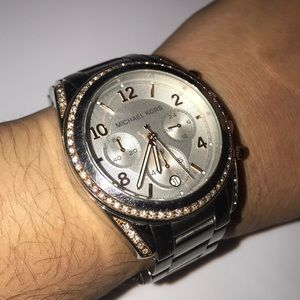 Michael Kors Silver and Rose Gold watch